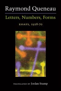 Cover for Queneau: Letters, Numbers, Forms: Essays, 1928-70. Click for larger image