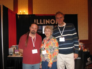 Signature Books' Tom Kimball, UIP author Jan Shipps, and the leaning tower of me.